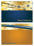 Blue and gold christmas banners. With snowflakes and copy space Royalty Free Stock Photo