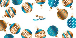 Blue and gold Christmas bauble. Decor stylized vector pattern for card, invitation, greetingn. Small Xmas tree decoration balls with ornament illustration Royalty Free Stock Photo