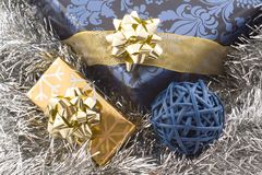 Blue and gold christmas gifts royalty free stock photo