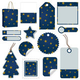 Blue and gold christmas tags Stock Photo