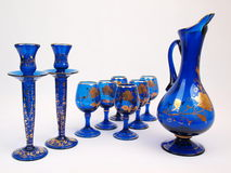 Blue Gold Crystal Deco Glass Items Jug. Exquisite Dark Blue Gold trimmed Crystal Decorative Glass items & jug royalty free stock photography