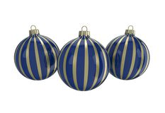 Blue and gold decorative Christmas balls. Isolated New Year image. Vintage blue decorative Christmas balls with gold reflect ornament. Isolated New Year image Stock Photo