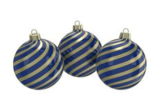 Blue and gold decorative Christmas balls. Isolated New Year image. Vintage blue decorative Christmas balls with gold reflect ornament. Isolated New Year image Stock Photos