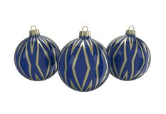 Blue and gold decorative Christmas balls. Isolated New Year image. Vintage blue decorative Christmas balls with gold reflect ornament. Isolated New Year image Royalty Free Stock Images