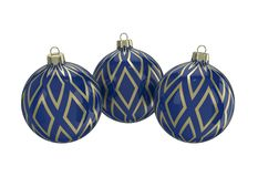 Blue and gold decorative Christmas balls. Isolated New Year image. Vintage blue decorative Christmas balls with gold reflect ornament. Isolated New Year image Royalty Free Stock Image