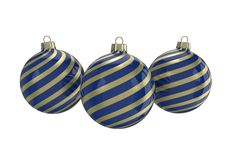 Blue and gold decorative Christmas balls. Isolated New Year image. Vintage blue decorative Christmas balls with gold reflect ornament. Isolated New Year image Stock Image