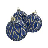 Blue and gold decorative Christmas balls. Isolated New Year image. Vintage blue decorative Christmas balls with gold reflect ornament. Isolated New Year image Royalty Free Stock Photo