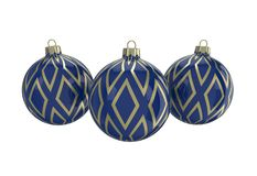 Blue and gold decorative Christmas balls. Isolated New Year image. Vintage blue decorative Christmas balls with gold reflect ornament. Isolated New Year image Royalty Free Stock Photos