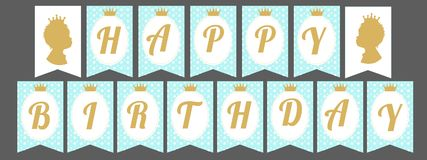 Printable template flags. Cute pennant banner as flags with letters Happy Birthday in prince style. Baby pattern. Blue and gold design elements. Royal style Stock Image
