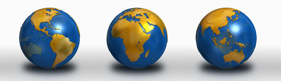Blue and Gold Earth Collection Stock Photography