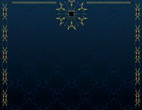 Blue gold elegant background 4. Blue gold frame on blue pattern background Stock Photo