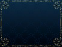 Blue gold elegant background 5. Blue gold frame on blue pattern background royalty free illustration