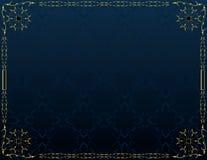 Blue gold elegant background 5. Blue gold frame on blue pattern background Stock Images