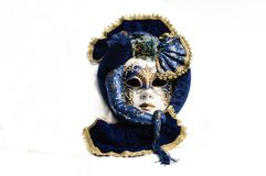 Blue with gold elegant traditional venetian mask royalty free stock photo