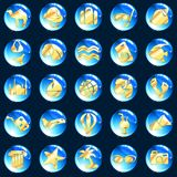 Blue and gold exotic vacation icons Royalty Free Stock Photo