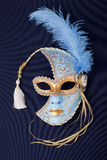 Blue and gold feathered mask Royalty Free Stock Image