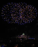 Blue and Gold Fireworks Over the Cincinnati Skyline and Railway Bridge Royalty Free Stock Photography