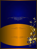 Blue and Gold Floral Background Stock Images