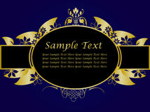 Blue and Gold Floral Background Royalty Free Stock Photo