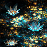 Blue and gold fractal flowers Stock Photos