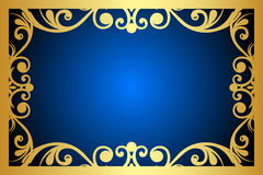 Blue and gold frame. Vector floral blue and gold frame Royalty Free Stock Photos