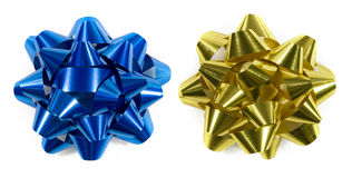 Blue and gold gift bows. Isolated on white (top down shot Stock Photography