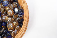 Blue and gold beads Stock Photos