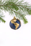 Blue and Gold Globe Christmas Ornament showing Nor. Th and South America Stock Image