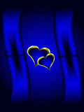 Blue and Gold Hearts Valentines Background Stock Photos