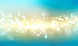 Blurred lights blue gold horizontal banner background. Blue and gold horizontal sparkling banner.Blurred lights background.Beauty backdrop Royalty Free Stock Photo