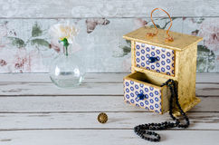 Blue and Gold Jewellery Box Stock Photo