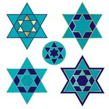 Blue and gold Jewish star icons Royalty Free Stock Image