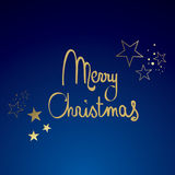 Blue and Gold Merry Christmas. With Glitter Royalty Free Stock Image