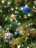 Blue and Gold Ornaments Stock Photography