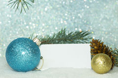 Blue and Gold Ornaments With Tag Royalty Free Stock Image
