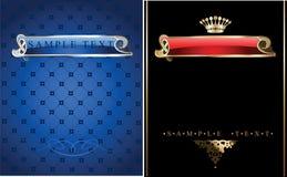 Blue Gold Ornate Banner. royalty free illustration