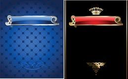 Blue And Gold Ornate Banner. stock illustration