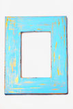 Blue and gold painted distressed frame. Blue and gold painted distressed wooden frame Royalty Free Stock Photo