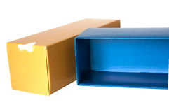 Blue and gold paper box Stock Image