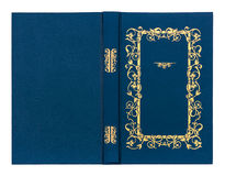 Blue with gold pattern vintage book cover Royalty Free Stock Photo