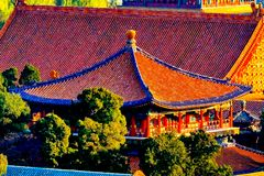 Blue Gold Pavilion Forbidden City Beijing China Royalty Free Stock Image