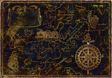 Blue and gold pirate map. Hand drawn illustration of old pirate map with gold silhouettes on blue background, image with inverse effect and grunge paper texture royalty free illustration