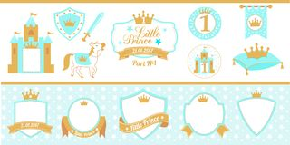 Blue and gold prince party decor. Medieval set. Cute happy birthday card template elements.