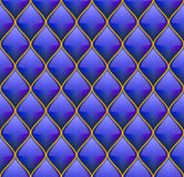 Blue with Gold Quilted Leather Seamless Background Stock Image