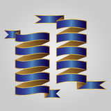 Blue with gold ribbon vector Royalty Free Stock Photo