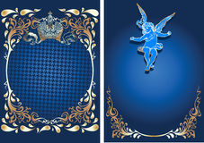 Blue And Gold Romance Ornate Banner With Cupid. Stock Photo