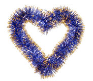 Blue gold tinsel heart Royalty Free Stock Images