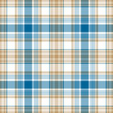 Blue gold white check fabric texture seamless pattern. Vector illustration Stock Images