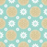 Blue, gold and white geometric flower mandalas seamless vector repeat pattern in an elegant festive Scandinavian style stock photo