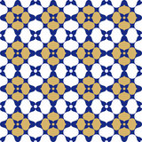 Blue, gold and white Oriental seamless background. Blue gold and white Oriental Fabric or vintage wallpaper  texture seamless  tile background Stock Photography